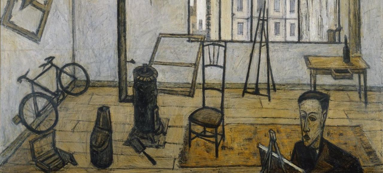 Le Musée d'art moderne de la ville de Paris propose de redécouvrir l'oeuvre étonnament dérangeante du peintre français Bernard Buffet. Ici, sa plus jeune période avec <i>L'Atelier</i>, 1947.