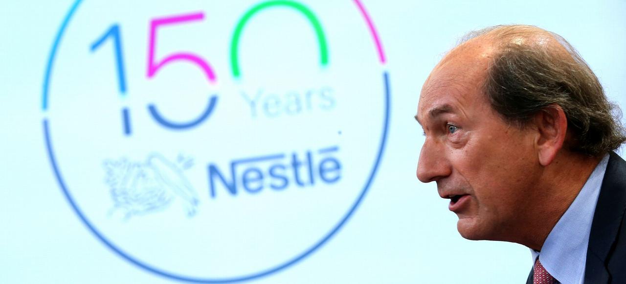 Paul Bulcke, PDG de Nestlé, lors d'une conférence de presse, le 20 octobre à Vevey, en Suisse.