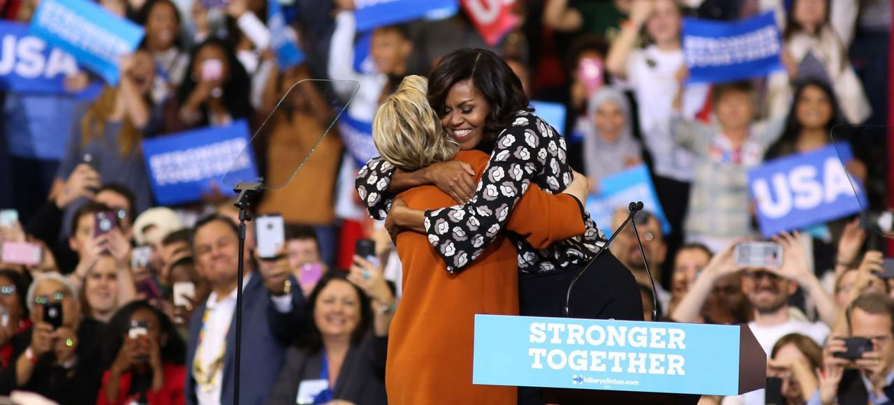 Hillary Clinton et Michelle Obama à Winston-Salem, jeudi en Caroline du Nord.