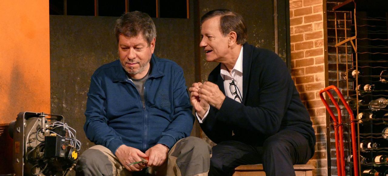 La pièce «À droite à gauche» de Laurent Ruquier, avec Régis Laspalès (à gauche) et Francis Huster.