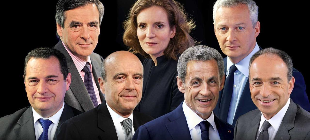 François Fillon, NKM, Bruno Le Maire, Jean-Frédéric Poisson, Alain Juppé, Nicolas Sarkozy, Jean-François Copé.