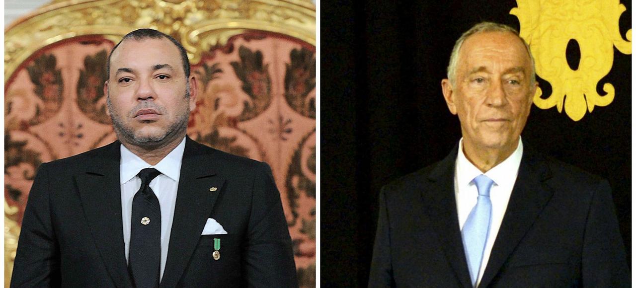 Le roi du Maroc Mohamed VI et Marcelo Rebelo, le président portugais.