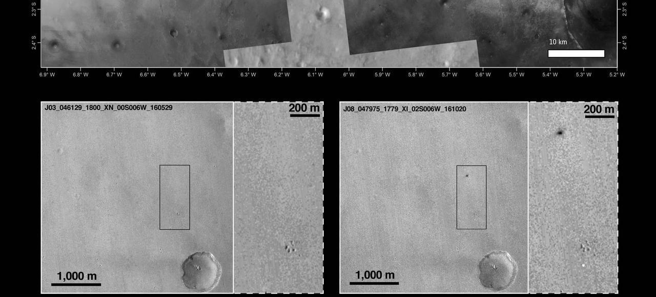 Image de Mars prise par la sonde américaine Mars Reconnaissance Orbiter (en haut). En bas, deux images avant-après: sur la photo de droite, on distingue en haut une tâche noire représentant les restes du module Schiaparelli et en bas une tâche blanche qui n'est autre que le parachute.