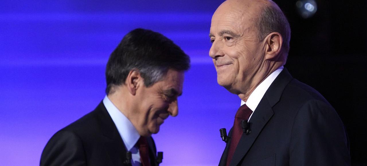 François Fillon et Alain Juppé sur le plateau du débat.