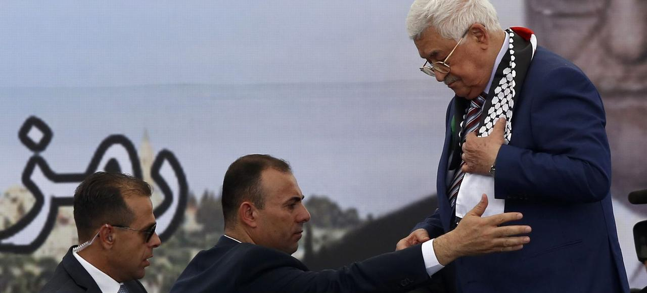 Mahmoud Abbas, lors du 12e anniversaire de la mort de Yasser Arafat, le 10 novembre à Ramallah.