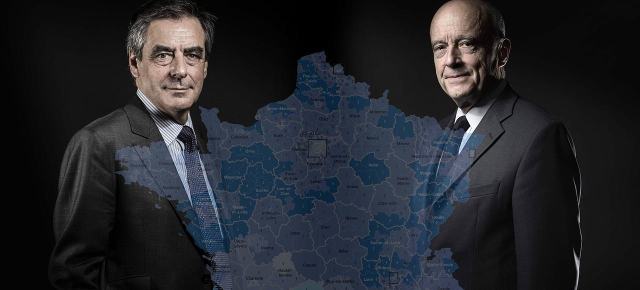 François Fillon dépasse la barre des 80% dans deux départements: le «sien», la Sarthe (87,2%)  même s'il n'y a plus aucun mandat depuis 2012 , et la Mayenne voisine (81,1%).
