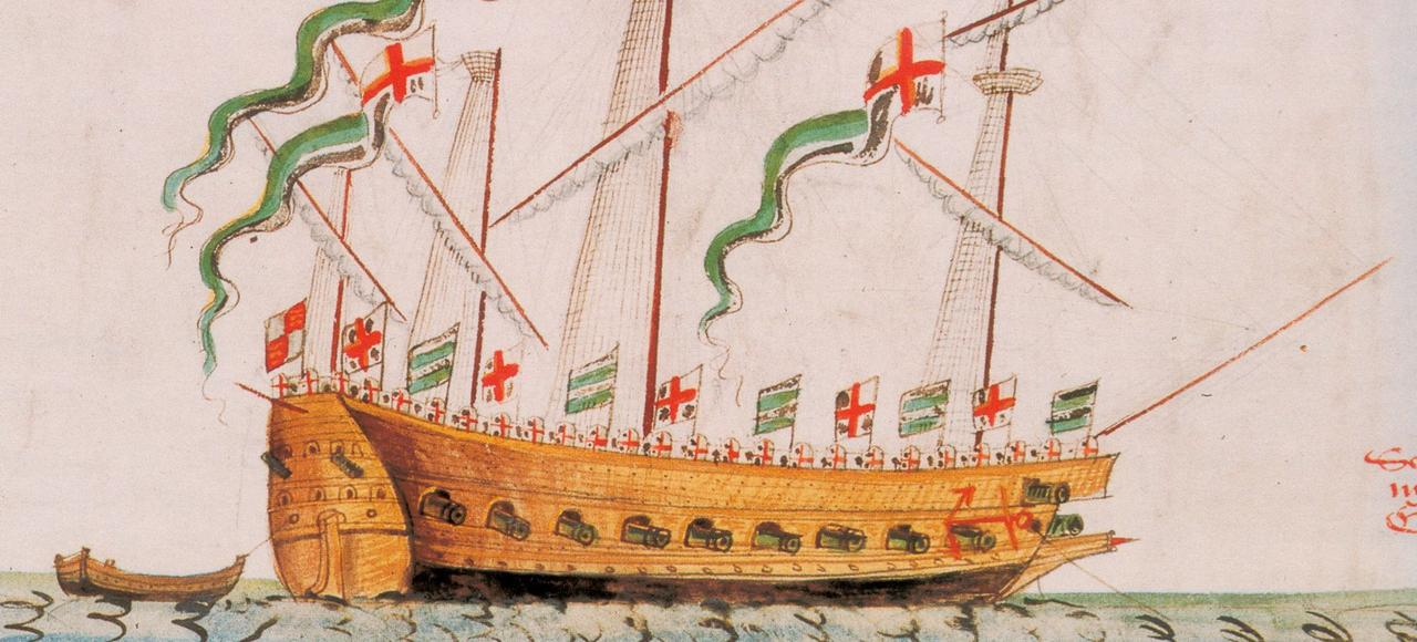 Cette image de L'Antilope, galéasse anglaise du XVIe siècle, donne une idée de ce à quoi ressemblait La Trinité de Jean Ribault. Illustration extraite de The Anthony Roll of Henry VIII's Navy.