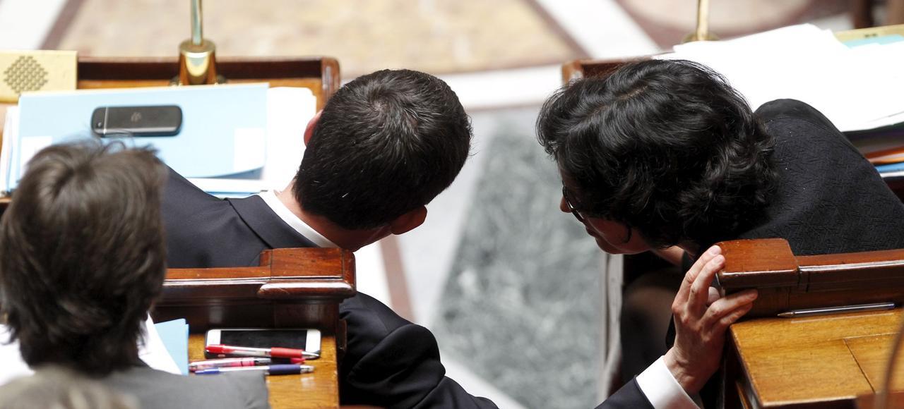 Manuel Valls et Myriam El Khomri à l'Assemblée nationale, en mai 2016.