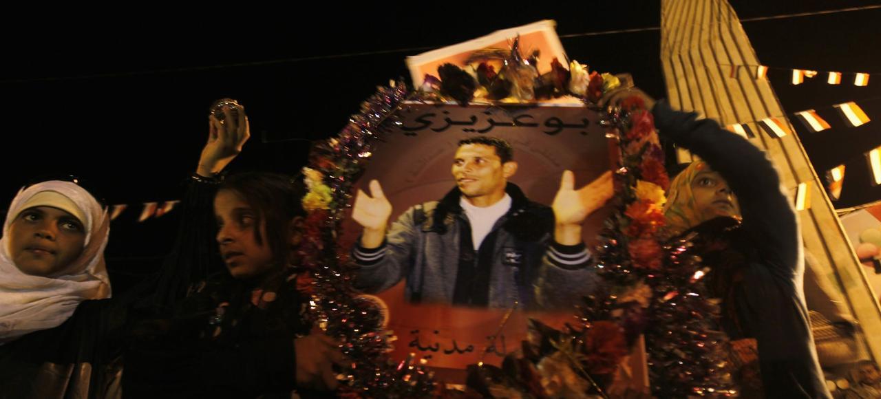 Commémoration de la mort de Mohammed Bouazizi, le vendeur à la sauvette qui s'est immolé le 17décembre 2010.