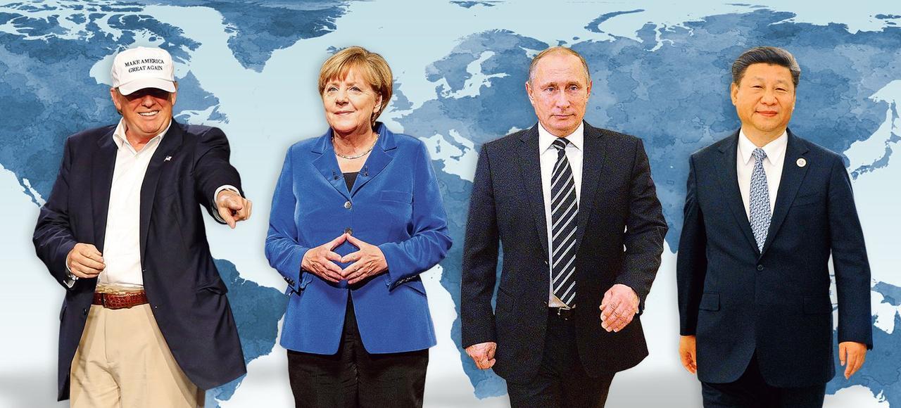 Les chefs d'États Donald Trump (États-Unis), Angela Merkel (Allemagne), Vladimir Poutine (Russie) et Xi Jinping (Chine).