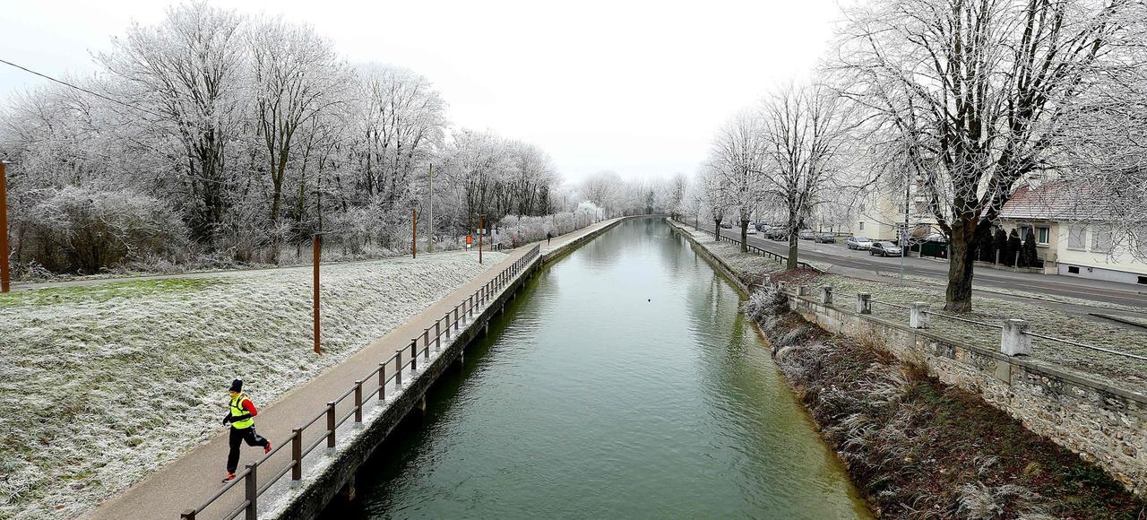 Dimanche, à Reims, sur les bords du canal, un fin manteau blanc recouvrait le sol.