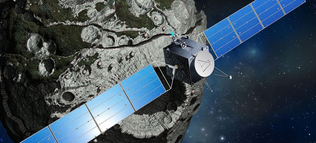 Vue d'artiste de la mission Psyche qui mettra le cap en 2023 vers l'astéroïde du même nom et se placera en orbite autour du corps métallique de 200 km de diamètre.