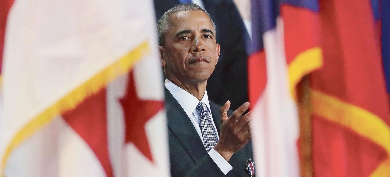 Barack Obama lors de la cérémonie d'adieux aux forces armées, le 4 janvier,à Arlington, en Virginie.