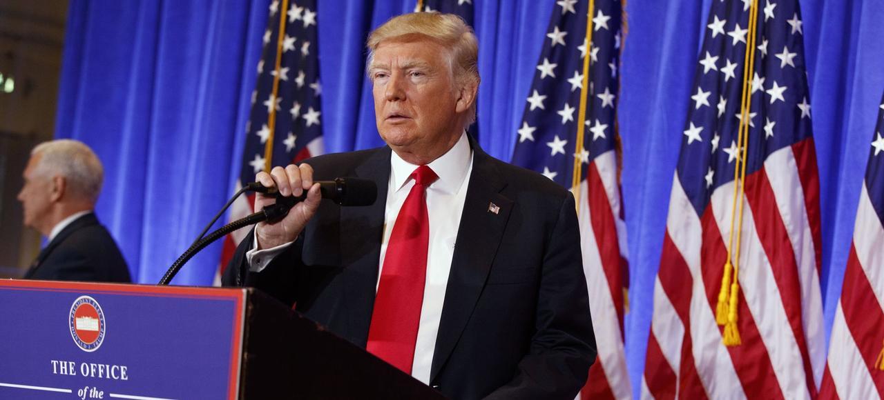 Donald Trump lors de sa conférence de presse à la Trump Tower, le 11 janvier à New York.