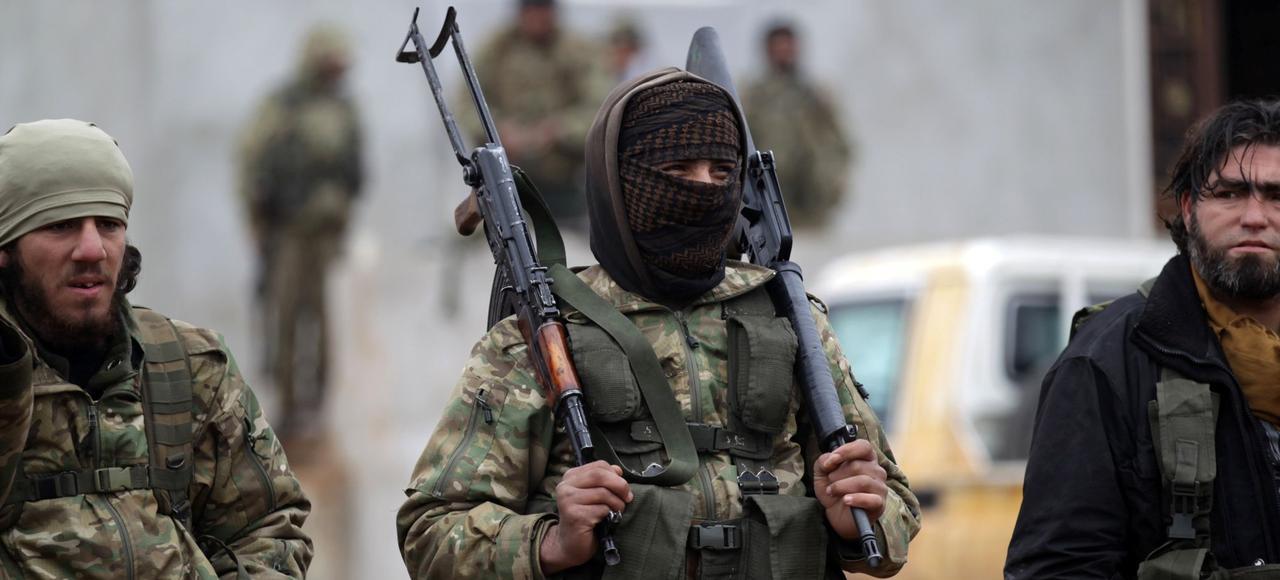 Des rebelles syriens, près d'al-Bab.