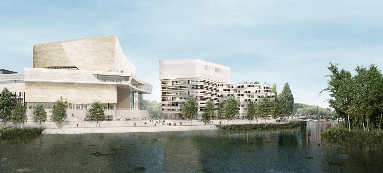 Ouvert à l'est sur la vallée de la Seine, au nord sur Boulogne et au sud sur les coteaux de Meudon, avec une vue sur l'île Saint-Germain, l'ensemble de ce gigantesque complexe sera agrémenté d'un jardin.