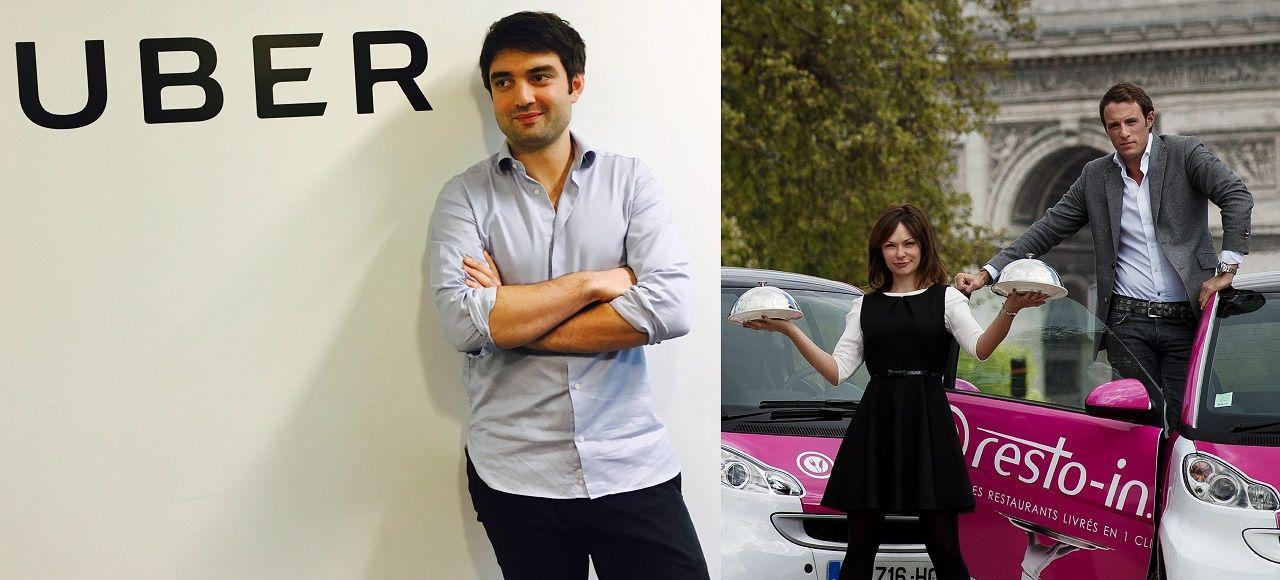 Guido Gabrielli ( <i>general manager </i>d'UberEats), Pilar Granell et Clément Benoît (cofondateurs de la start-up Resto-in).