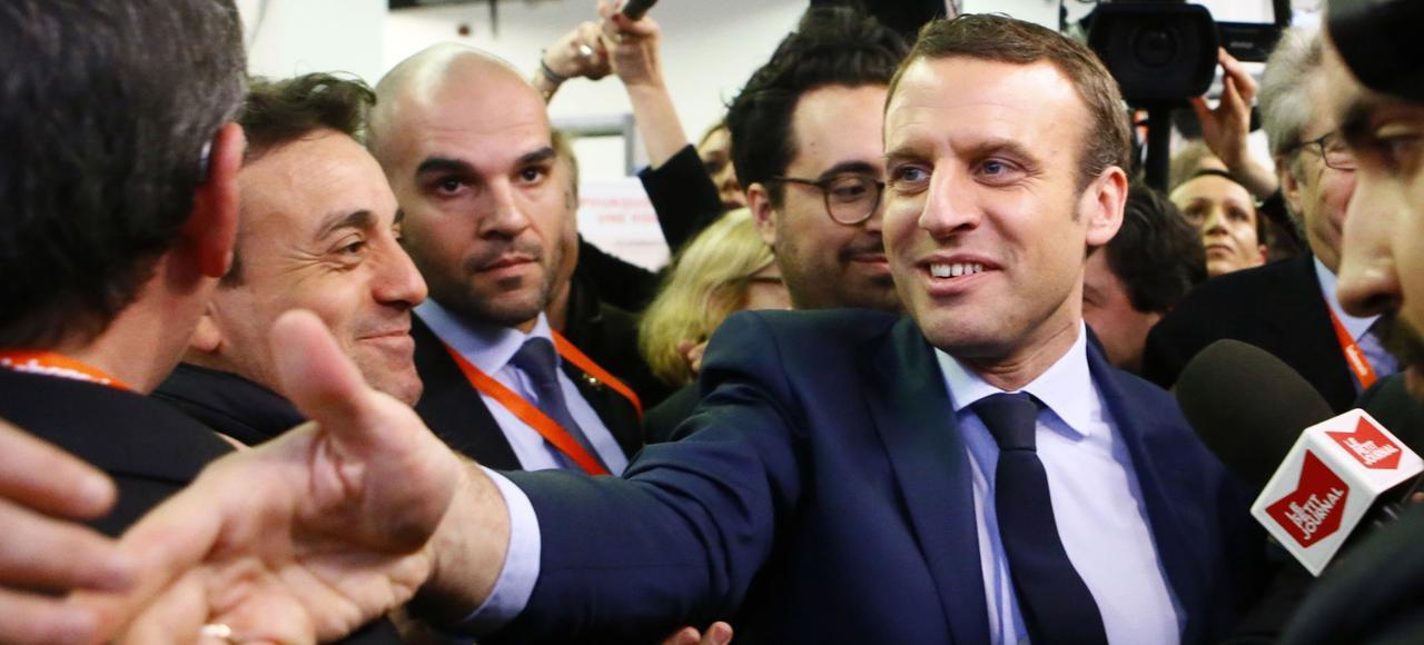 Emmanuel Macron au Salon des entrepreneurs, jeudi, à Paris.
