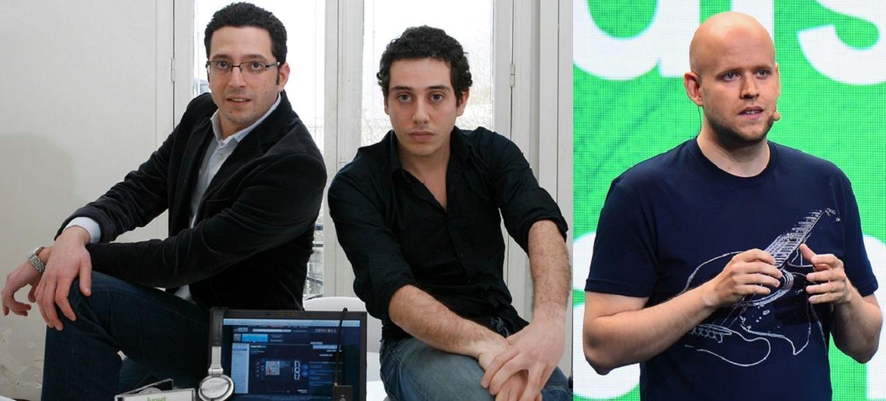 Jonathan Benassaya, Daniel Marhely (Deezer) et Daniel Ek (Spotify).