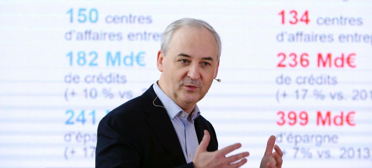 Le président du groupe BPCE, François Pérol, mardi, lors de la présentation de la stratégie de la banque mutualiste à l'horizon 2020.