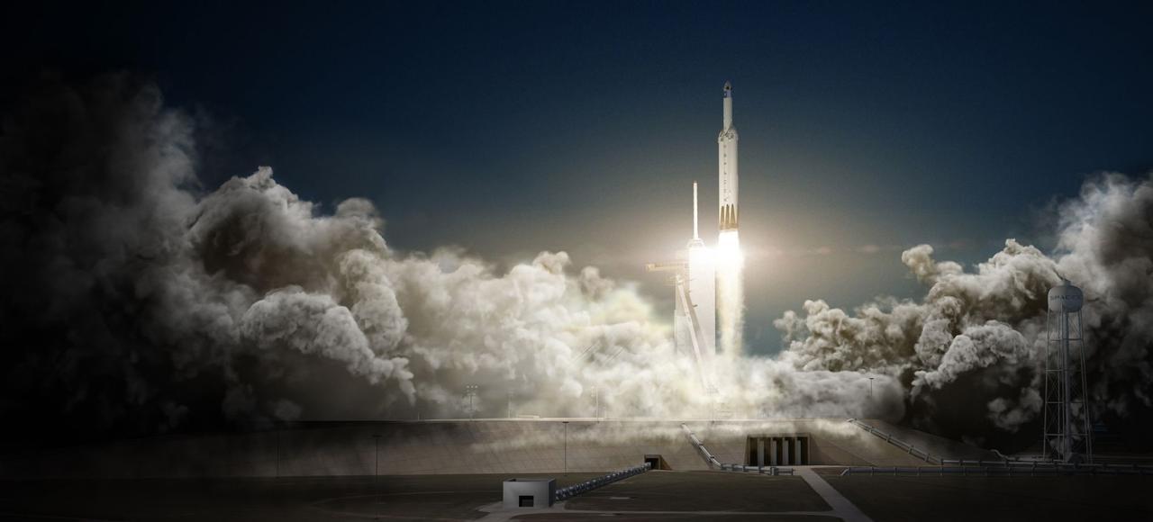 Vue d'artiste de la fusée Falcon Heavy lors de son lancement pour la mission lunaire.