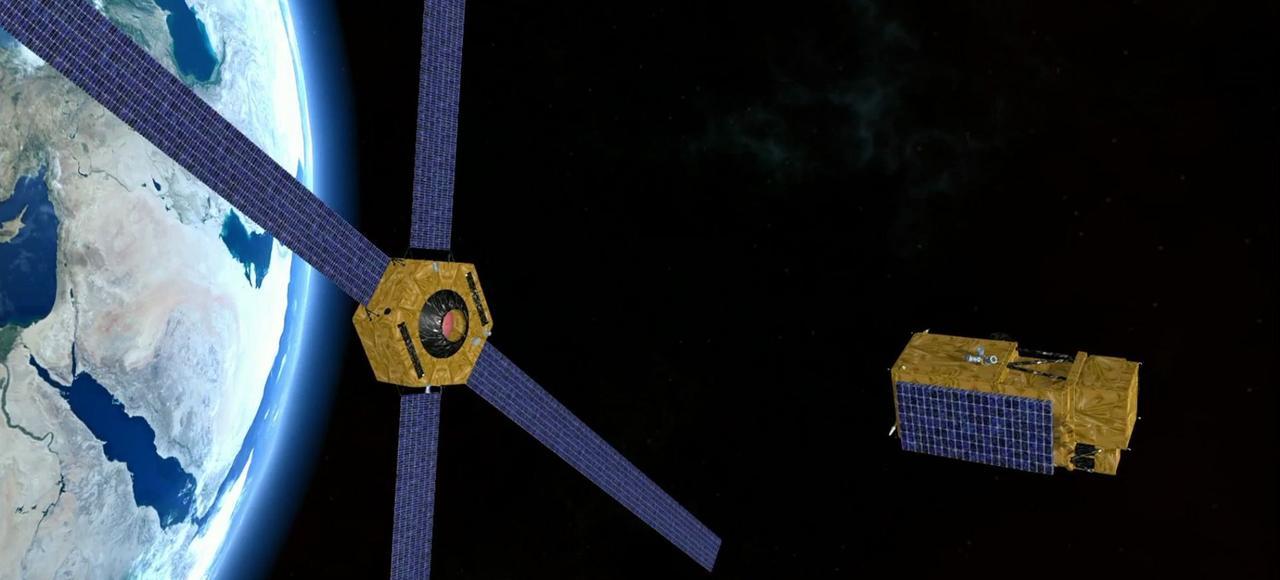 Vue d'artiste du Space Transportation Bus de Thales. On estime que 15% des satellites en service pourraient être perdus, suite à une collision avec des débris spatiaux.