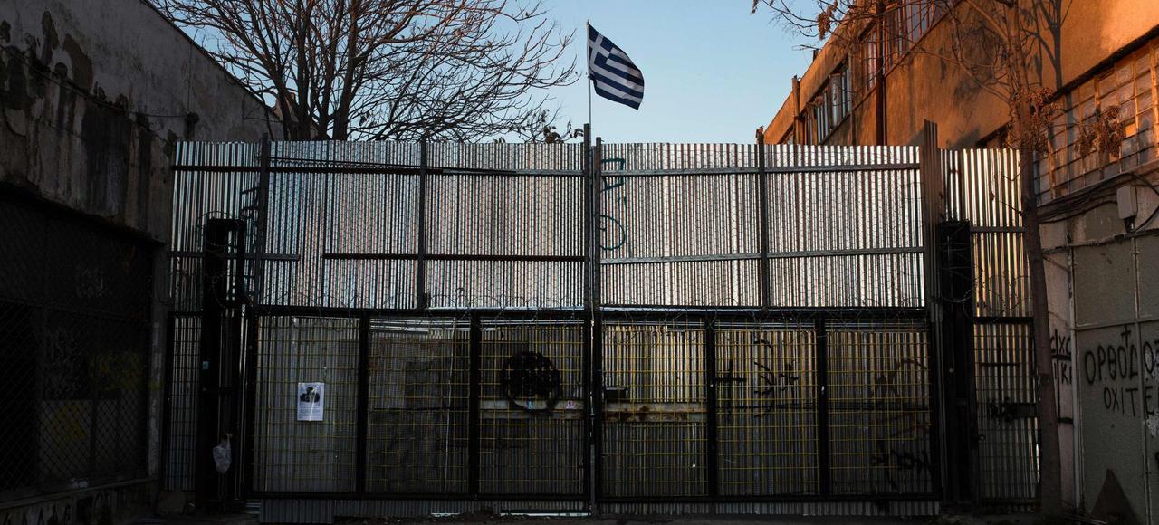 L'entrée du chantier de la nouvelle mosquée d'Athènes, sur le site d'une ancien entrepôt militaire dans le quartier ouest d'Eléona, le 22 février.