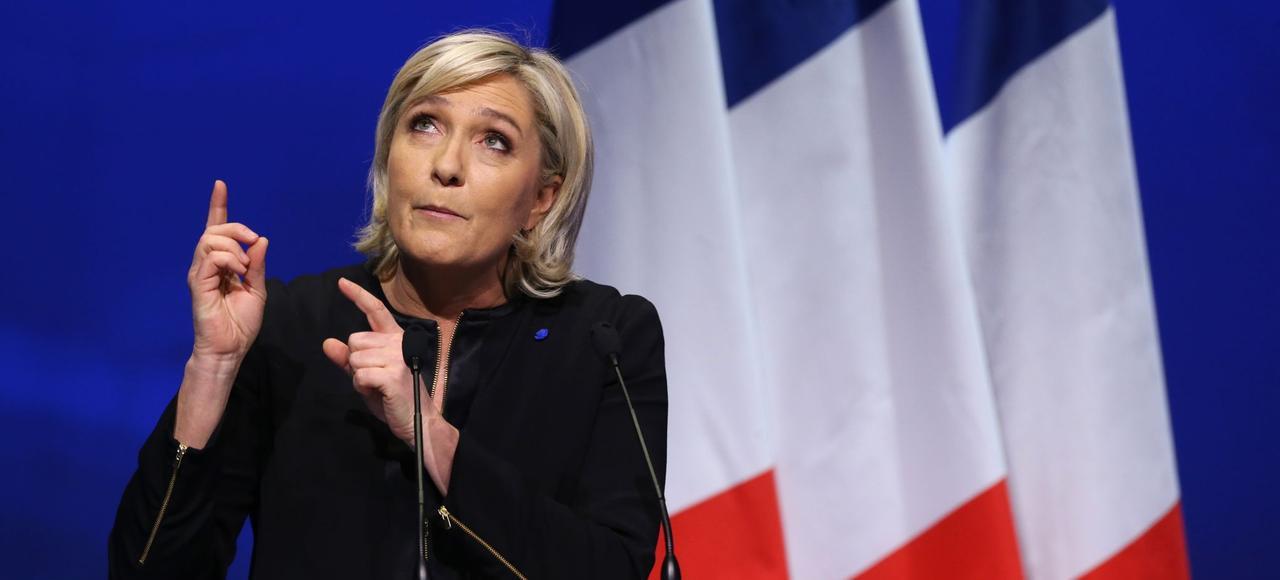 Marine Le Penlors d'un meeting,le 4 février à Lyon.