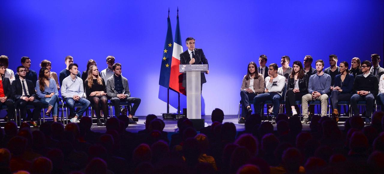 François Fillon s'adresse aux militants LR, jeudilors d'un meeting à Besançon.