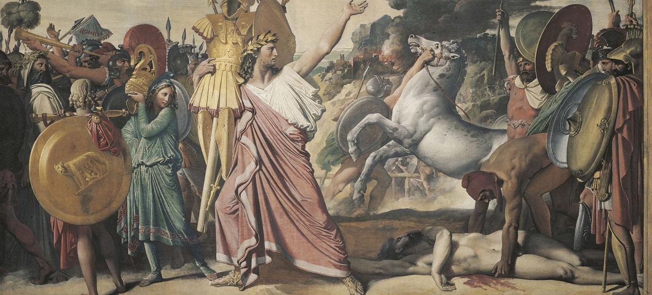 «Romulus vainqueur d'Acron» (détail) de Jean-Auguste Dominique Ingres, 1812, à l'exposition d'Antigone à Marianne.