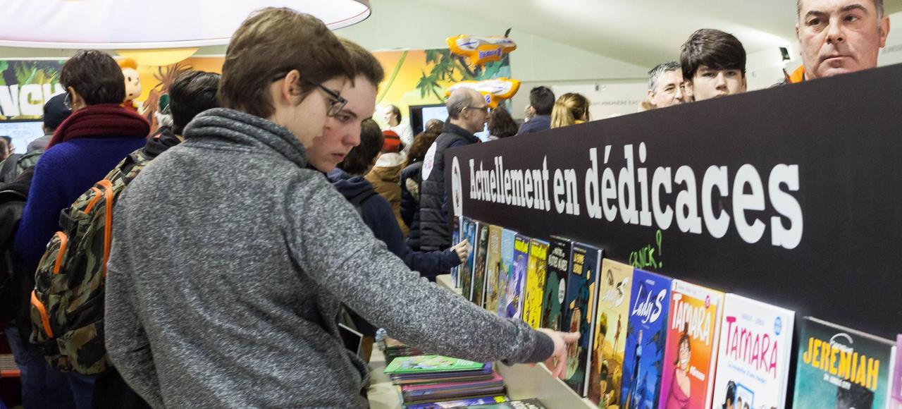 Dans les travées du Festival international de la BD d'Angoulême, le 28 janvier dernier.