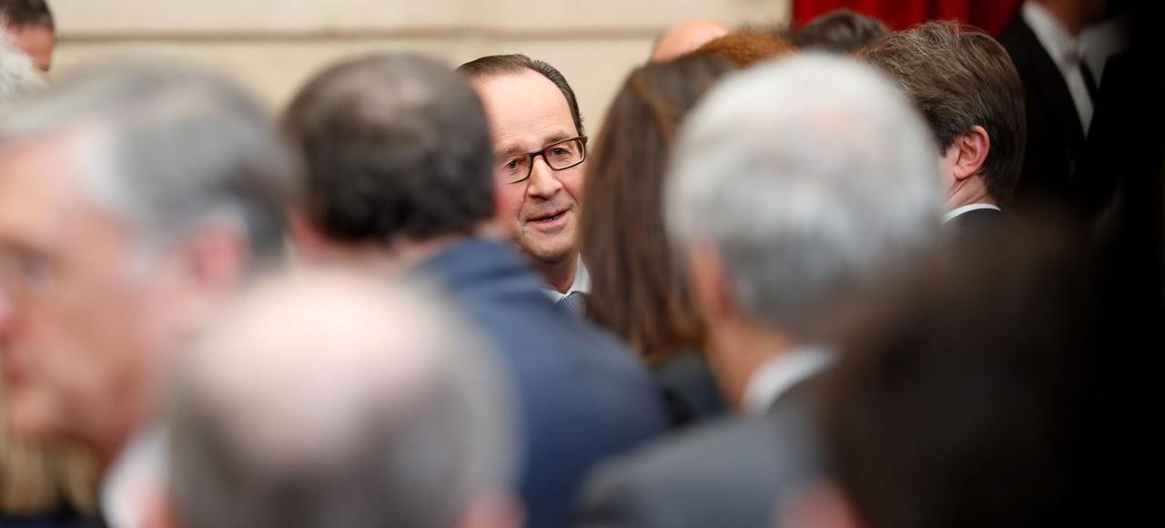 François Hollande,lundi, à l'Élysée,lors de la réceptiondes lauréats IDEX/ISITE.