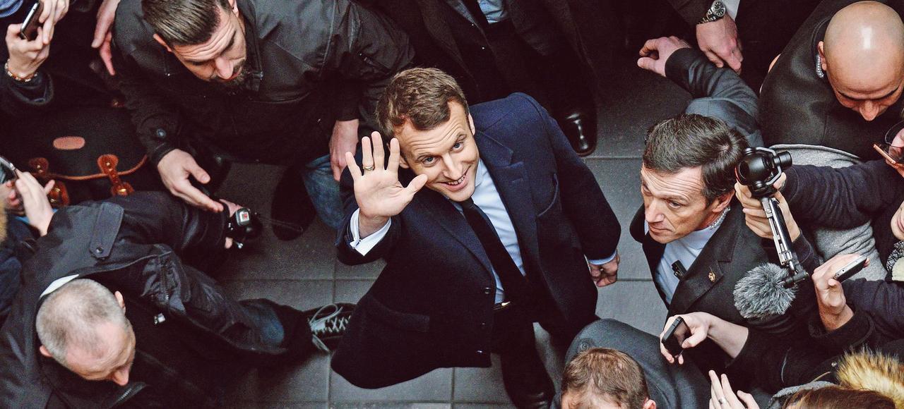 Emmanuel Macron, mardi, à son arrivée de droit de Lille, où il a donné une conférence sur la justice.