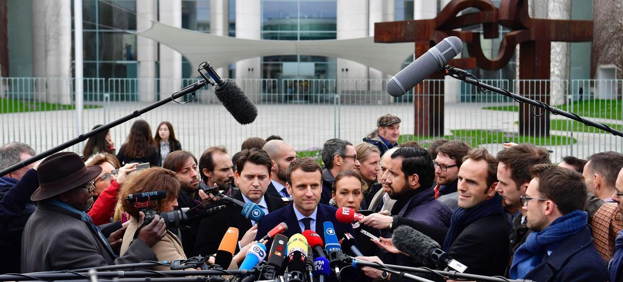 Emmanuel Macron à Berlin, jeudi.