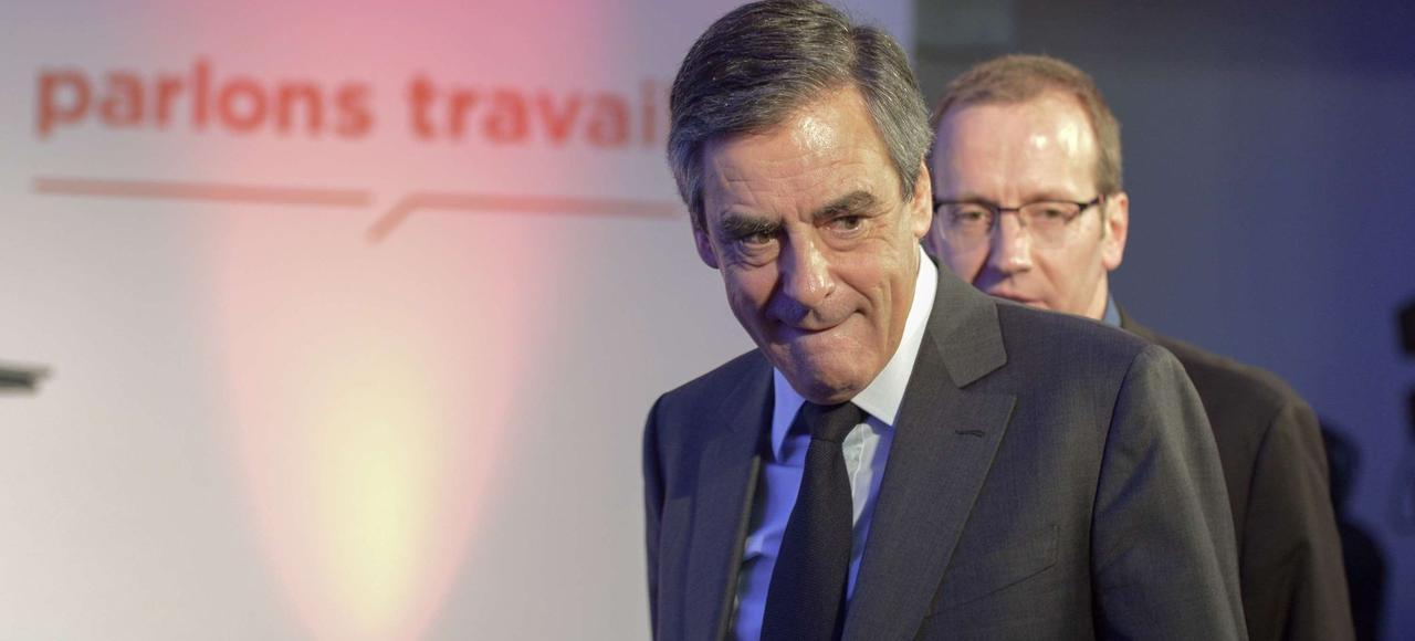 François Fillon, candidat LR à la présidentielle, jeudi à Paris.
