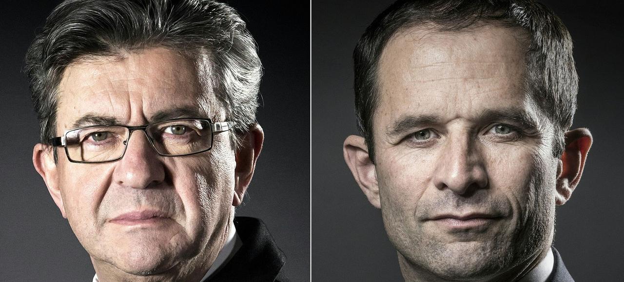 Jean-Luc Mélenchon et Benoît Hamon atteignent péniblement 25% des voix à eux deux dans les différents sondages.