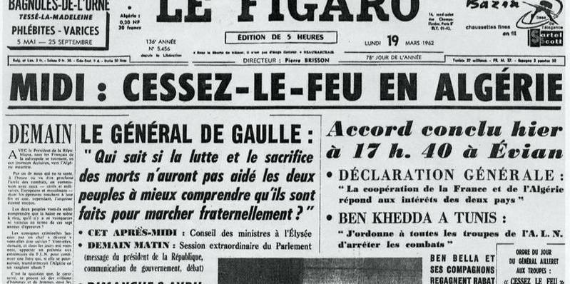 La une du Figaro le 19 mars 1962