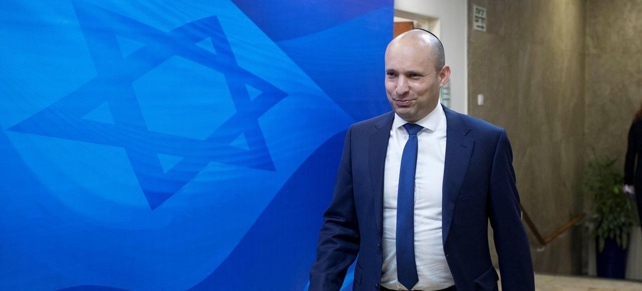 Le ministre israélien de l'Éducation Naftali Bennett (ici en janvier 2017 à Jérusalem), chef de file du Foyer juif, est l'étoile montante de la droite religieuse.