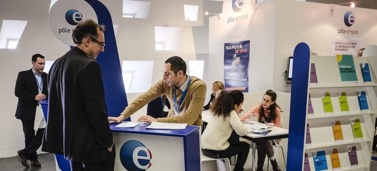 Le stand Pôle emploi au salon des entrepreneurs.