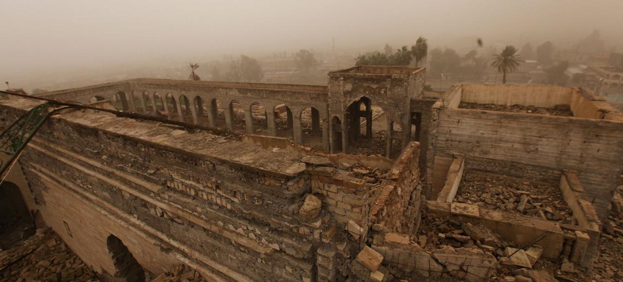 Les restes du sanctuaire du prophète Jonas, le 28 janvier à Mossoul.