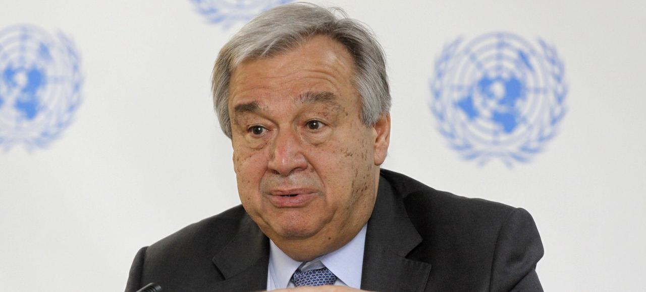 Antonio Guterres, secrétaire général de l'ONU, lors d'une conférence de presse à l'ONU, le 8 mars à Nairobi (Kenya).