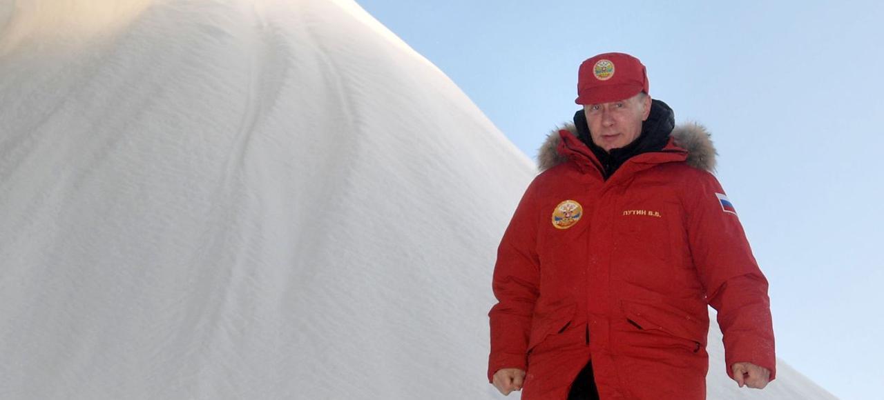 Vladimir Poutine, en visite sur le territoire arctique de l'Archipel François-Joseph, le 29 mars.