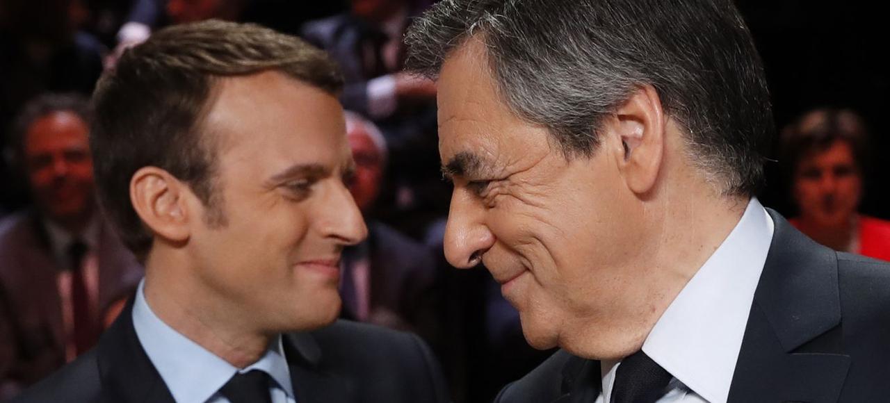 Emmanuel Macron et François Fillon, le 20 mars avant le débat télévisé.