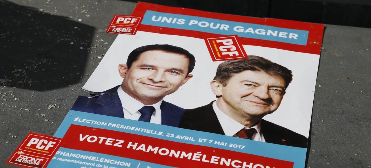 <i>Certains militants de gauche appellent désormais à une candidature commune entre Hamon et Mélenchon</i>