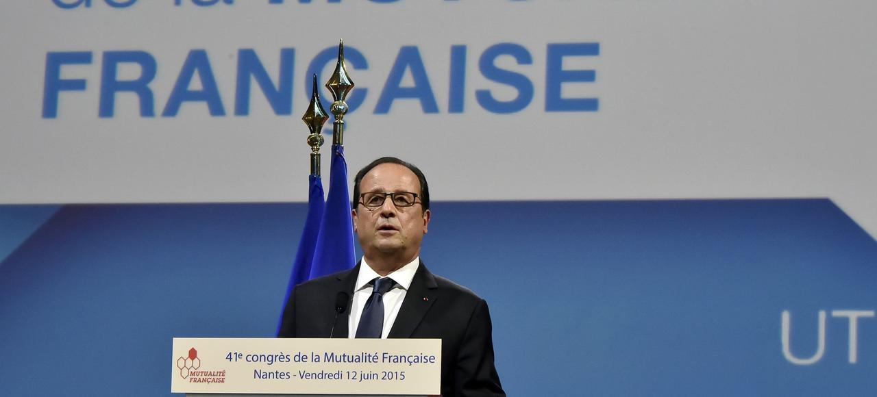 Le président de la République s'adresse au 41e congrès de la mutualité française, le 12 juin 2015, à Nantes.