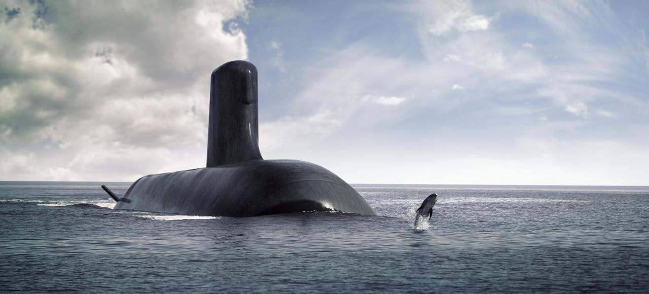 Vue d'artiste du futur sous-marin australien.