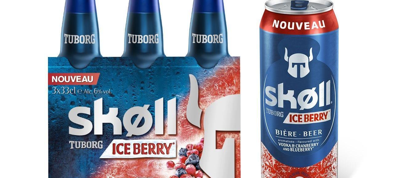 La nouvelle Skoll «Ice Berry» (arômes vodka, myrtilles et cranberries), produite pour les Brasseries Kronenbourg.