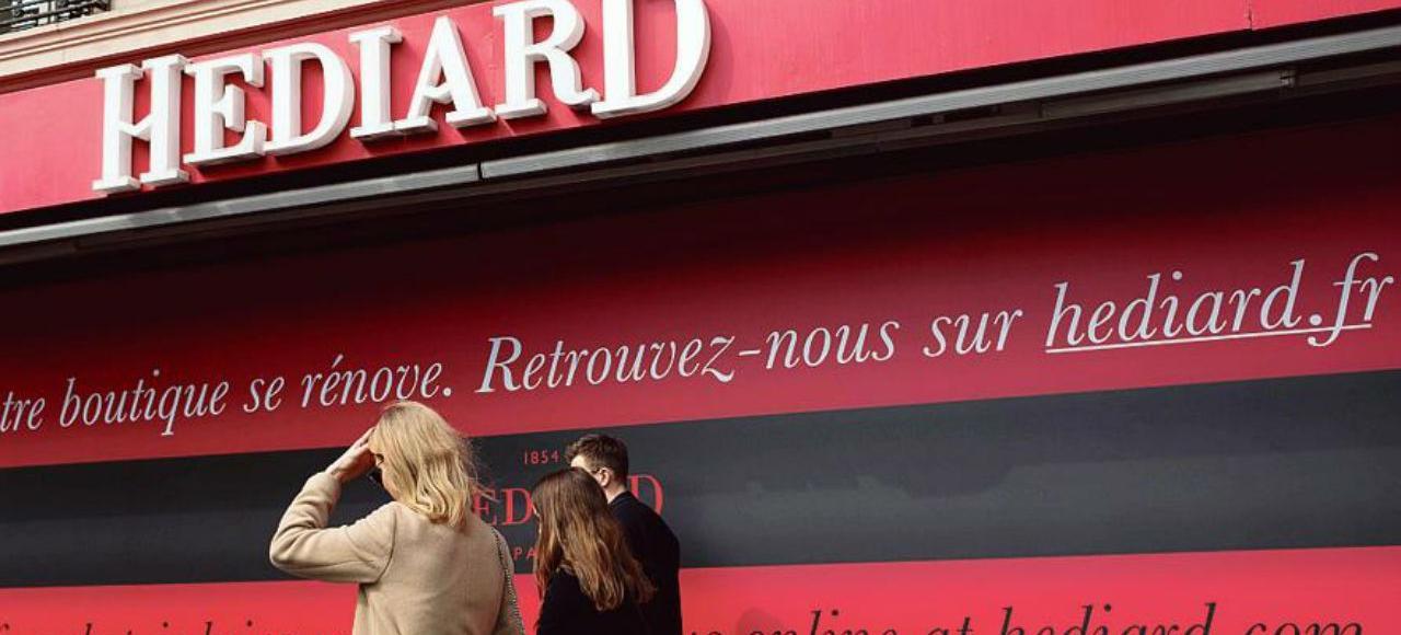 Depuis le 7 mai 2015, le magasin d'Hédiard, place de la Madeleine, à Paris, est portes closes.