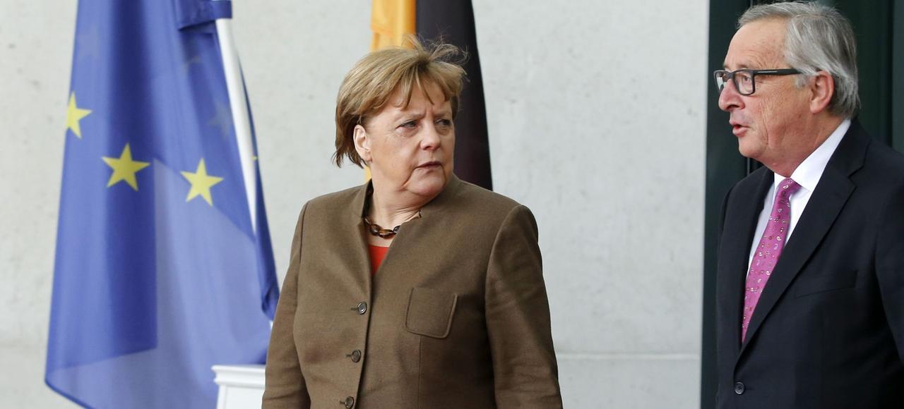 Angela Merkel et Jean-Claude Juncker à Berlin, en janvier 2016.