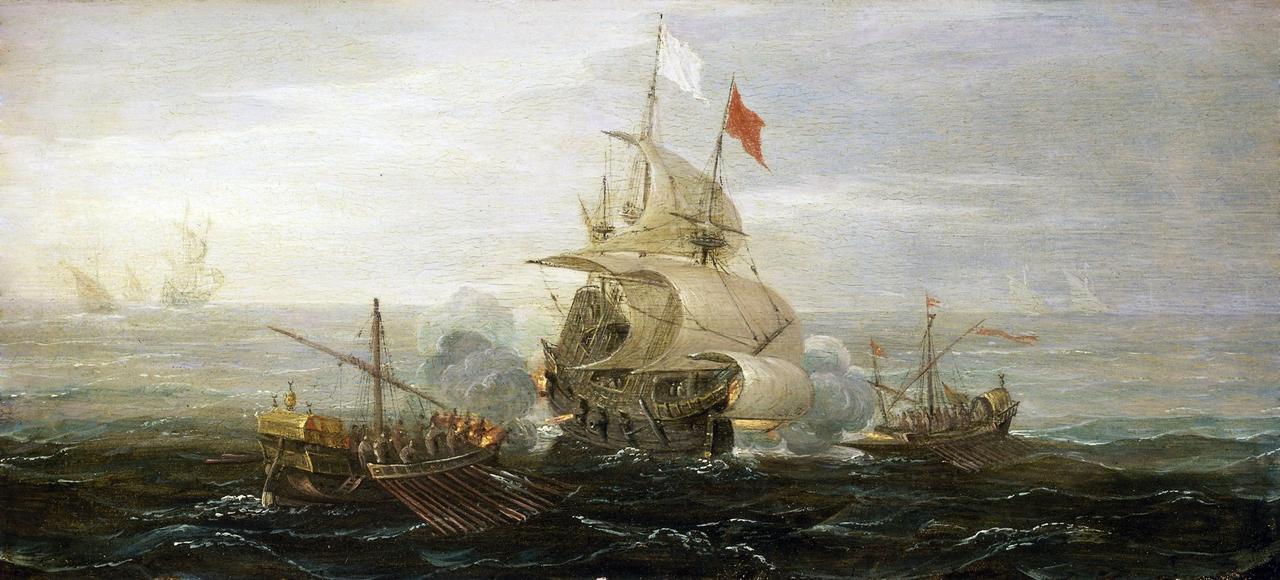 <i>L'attaque d'un navire de commerce francais pardes pirates de Barbarie,</i> Aert Anthonisz (vers 1579-1620).